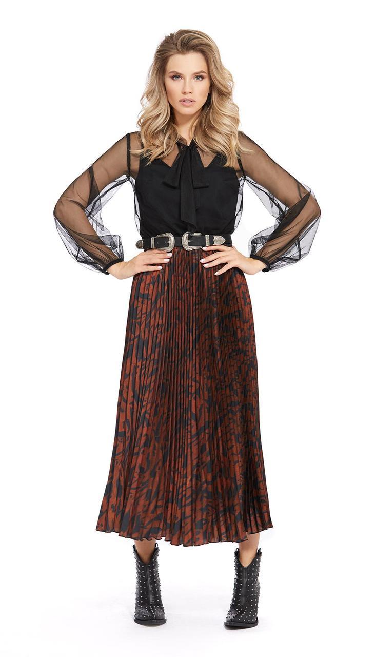 Сукня PiRS-927 білоруський трикотаж, чорний + теракот, 40