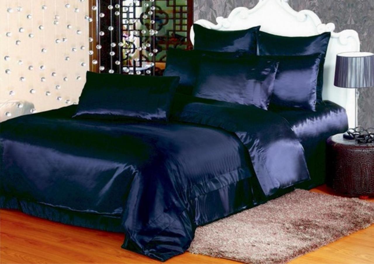 Розкішний комплект постільної білизни з Атласу Темно - Синій