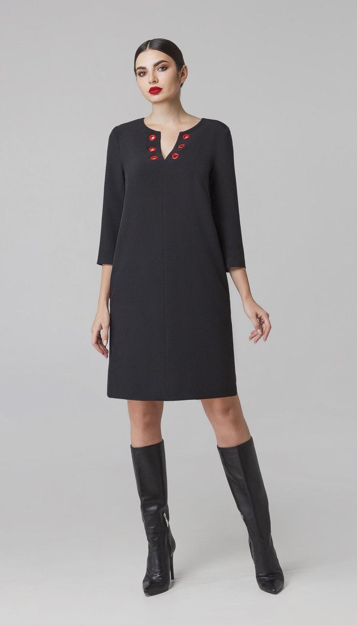 Платье Foxy Fox-230 белорусский трикотаж, черный с красным, 48
