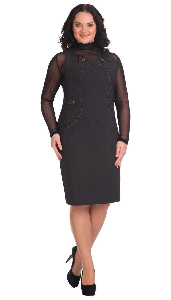 Сукня Лінія-Л-1398 білоруський трикотаж, чорний, 48