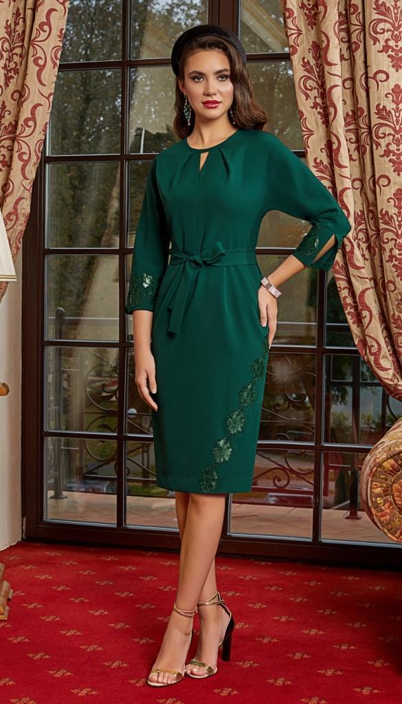Платье Lissana-4152 белорусский трикотаж, зеленый, 44