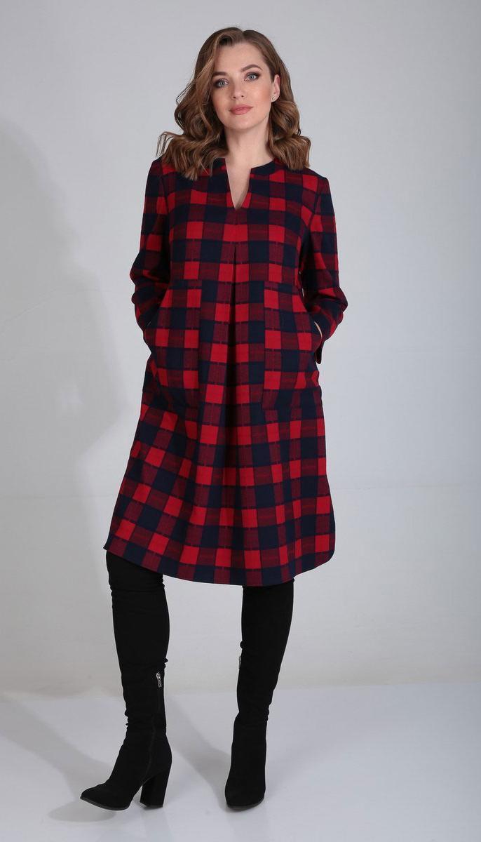 Сукня Mali-420-109 білоруський трикотаж, чорно-червона клітка, 50