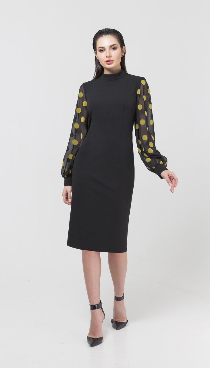 Сукня Foxy Fox-246 білоруський трикотаж, чорний в жовті горохи, 44