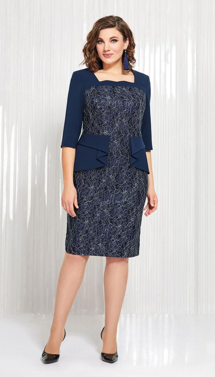 Платье AGATTI-3549 белорусский трикотаж, темно-синий, 50