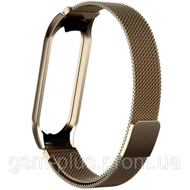 Металлический ремешок milanes loop для xiaomi mi band 5, mi band 6 dark gold