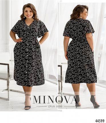 Элегантное и нежное платье батал с рукавами-крылышками Размеры: 50-52, 54-56, 58-60, 62-64, 66-68, фото 2