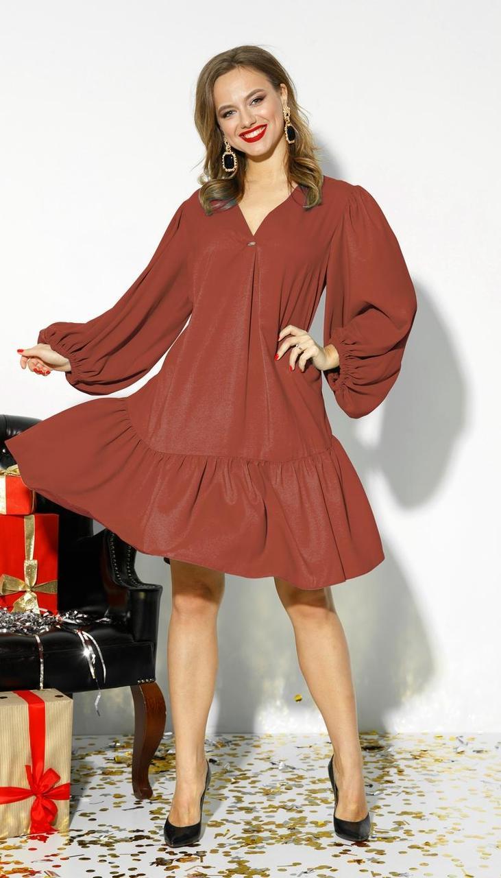 Платье Anastasia-523/7 белорусский трикотаж, терракот, 46