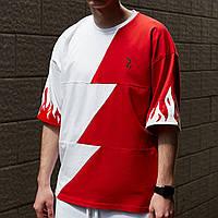 Футболка оверсайз чоловіча Гармата Вогонь Firestep червоно-біла, фото 1