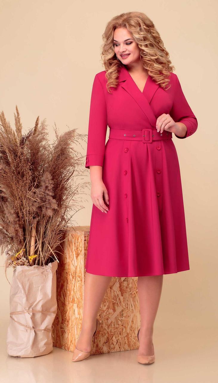 Платье Асолия-2504 белорусский трикотаж, малиновый, 54