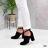 ТОЛЬКО 39 р!!! Женские туфли черные с резинкой на каблуке 8,5 см эко- замш, фото 2