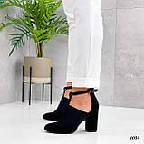 ТОЛЬКО 39 р!!! Женские туфли черные с резинкой на каблуке 8,5 см эко- замш, фото 3