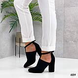 ТОЛЬКО 39 р!!! Женские туфли черные с резинкой на каблуке 8,5 см эко- замш, фото 4