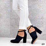 ТОЛЬКО 39 р!!! Женские туфли черные с резинкой на каблуке 8,5 см эко- замш, фото 5