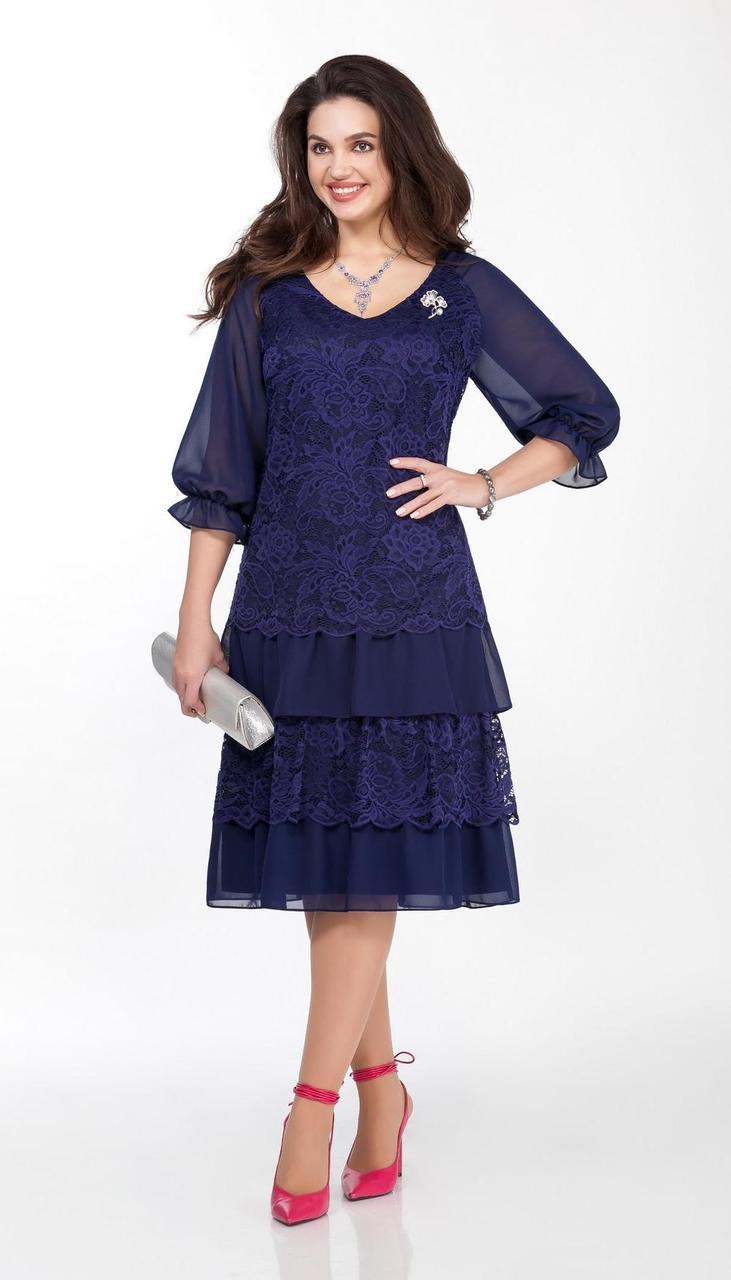 Платье TEZA-1464/1 белорусский трикотаж, синий, 48