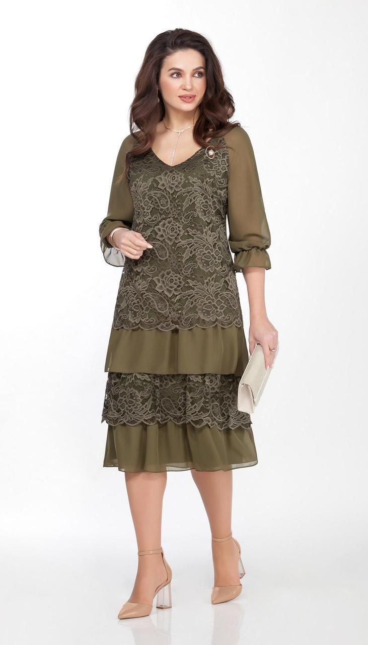 Платье TEZA-1464/2 белорусский трикотаж, хаки, 48