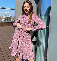 Красивое женское платье в цветочек с пуговицами до талии, фото 1