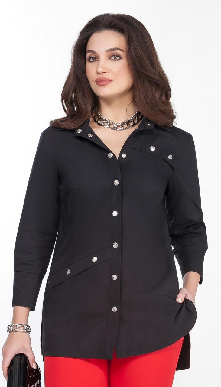 Блузка TEZA-1567/1 белорусский трикотаж, черный, 44