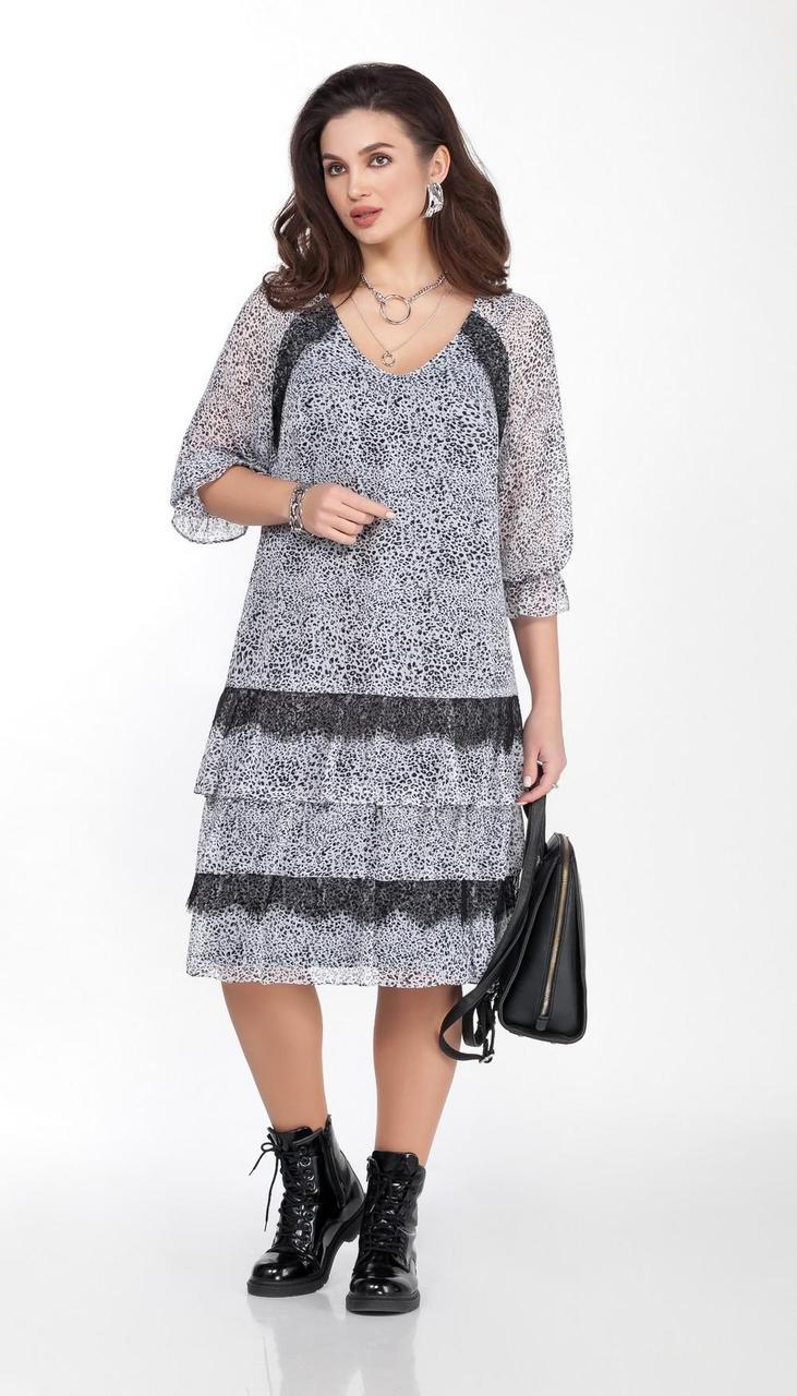 Платье TEZA-1787/1 белорусский трикотаж, черно-белый, 50