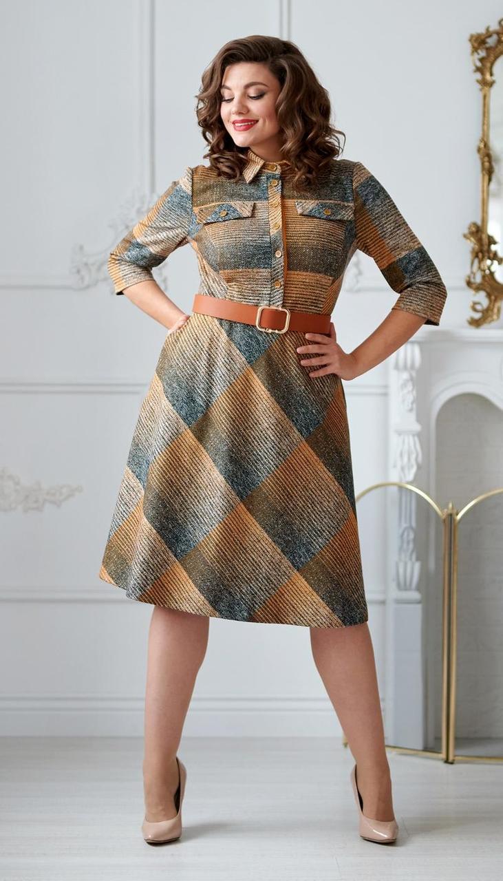Сукня Swallow-2011 білоруський трикотаж, сірий + помаранчевий, 48