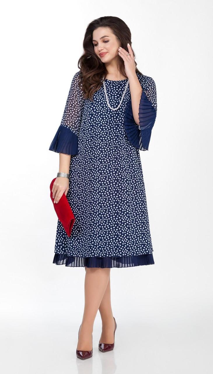 Платье TEZA-1820/2 белорусский трикотаж, синий горох, 44
