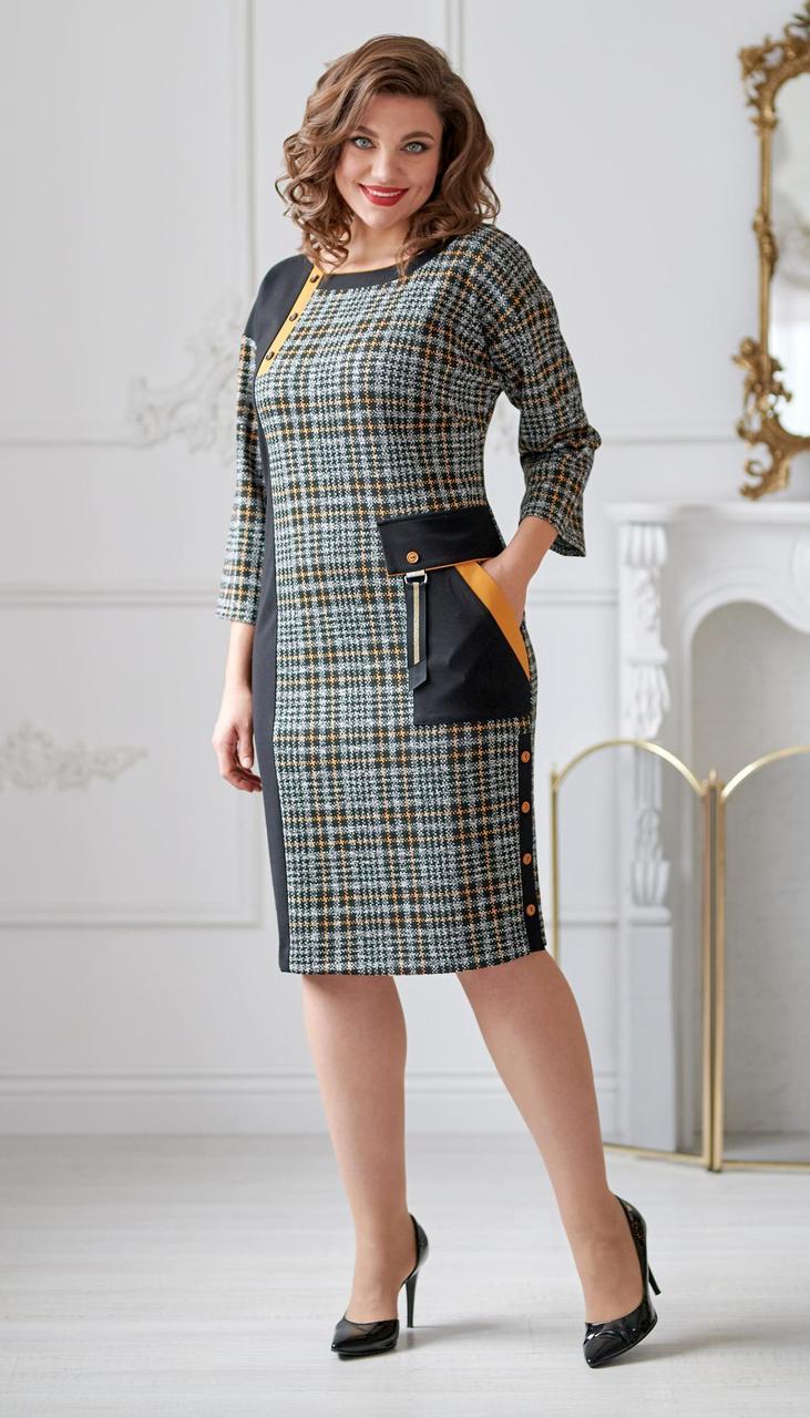 Платье Swallow-2012 белорусский трикотаж, черный + серый, 52