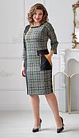 Платье Swallow-2012 белорусский трикотаж, черный + серый, 52, фото 1