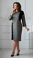 Сукня Swallow-2014 білоруський трикотаж, чорний + сірий, 52