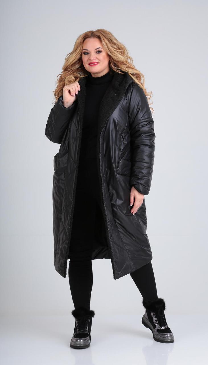 Пальто Диамант-1577/3 белорусский трикотаж, черный, 54