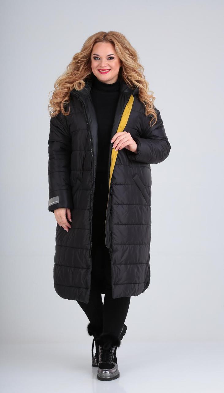 Пальто Диамант-1593 белорусский трикотаж, черный, 52