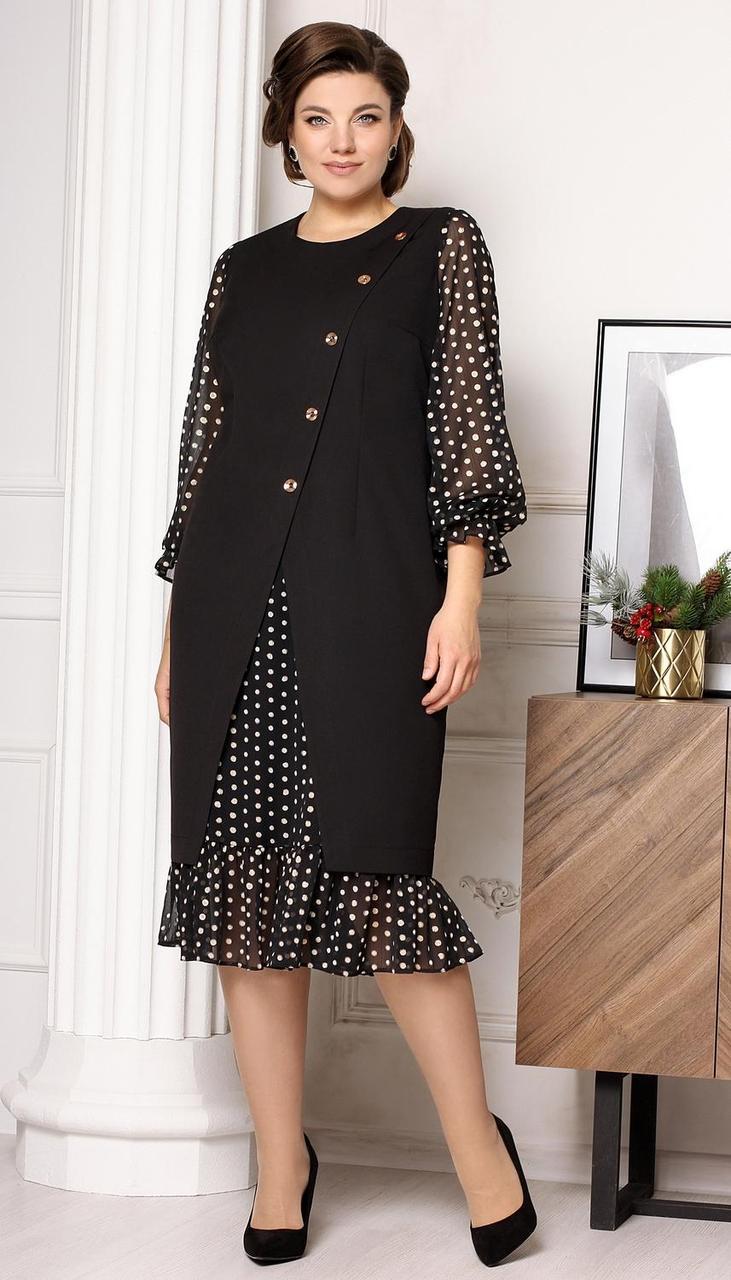Платье Мода-Юрс-2632 белорусский трикотаж, черный + горохи, 50