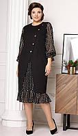 Платье Мода-Юрс-2632 белорусский трикотаж, черный + горохи, 50, фото 1