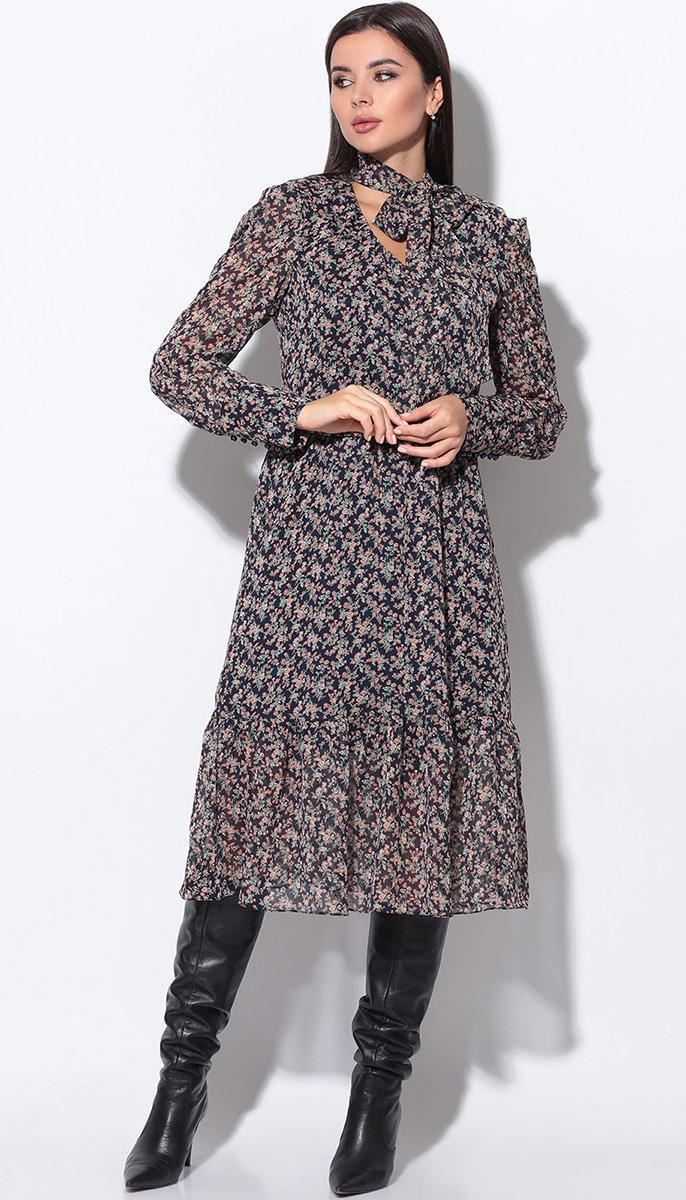 Платье LeNata-11155/1 белорусский трикотаж, синее в рисунок, 44