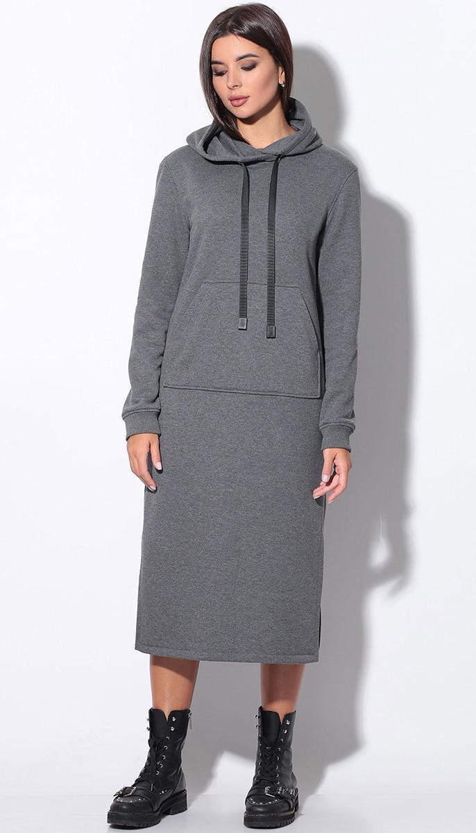 Платье LeNata-11158/1 белорусский трикотаж, серый, 44