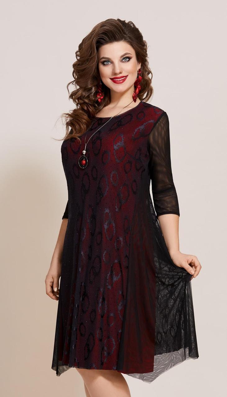 Сукня Vittoria Queen-13283 білоруський трикотаж, чорний + червоний, 52