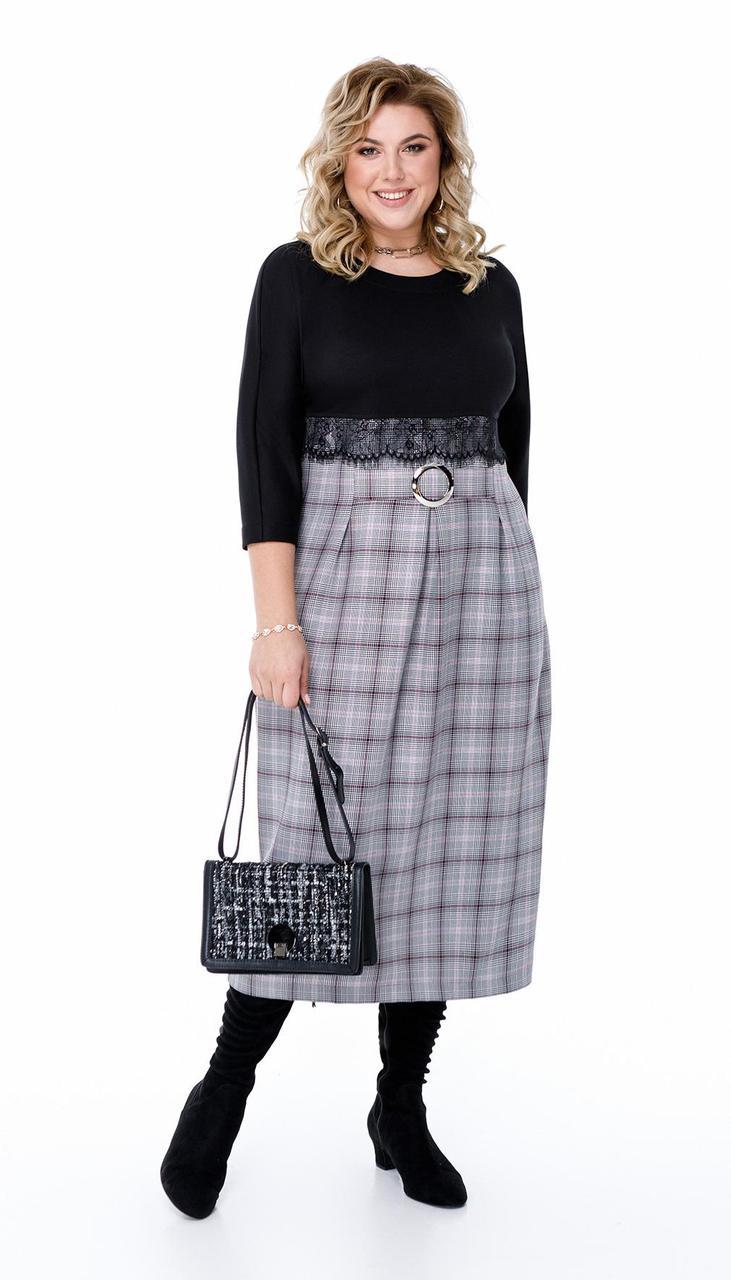 Платье Pretty-790/1 белорусский трикотаж, черный + серая клетка, 56