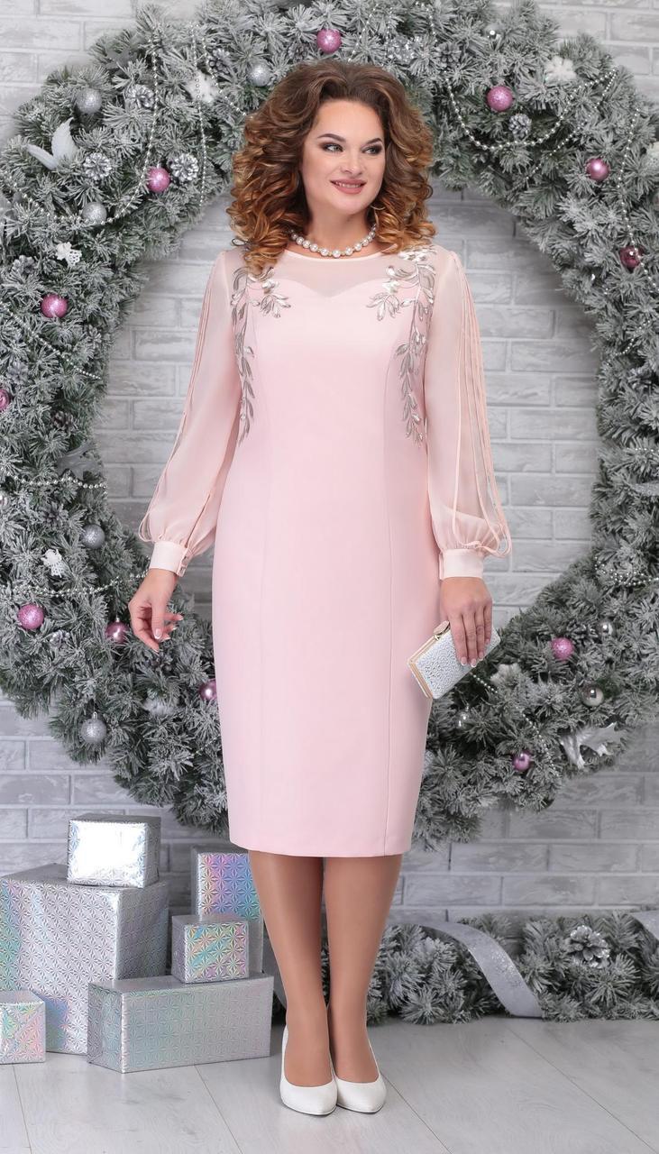 Платье Ninele-5815/5 белорусский трикотаж, пудра, 54
