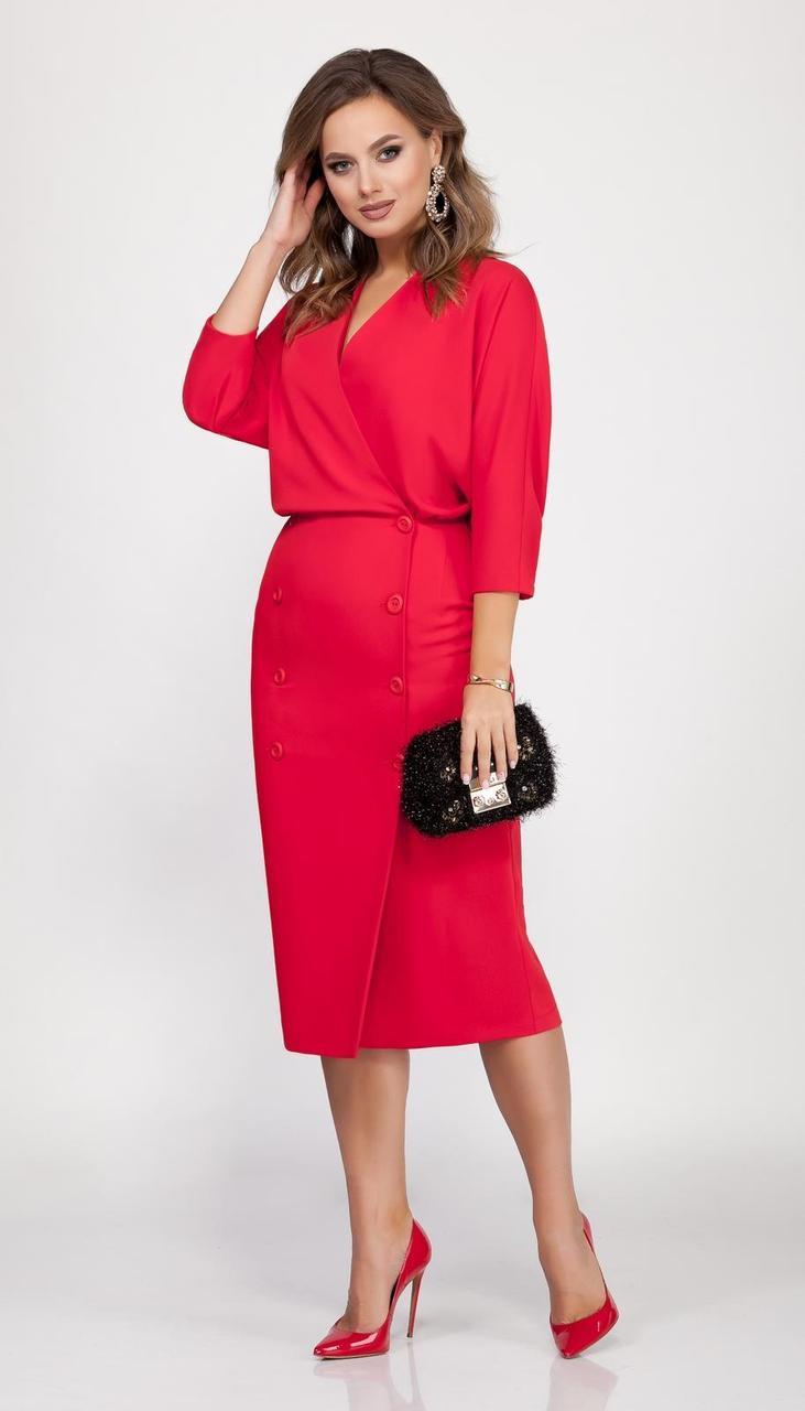 Платье DilanaVIP-1629 белорусский трикотаж, красный, 46