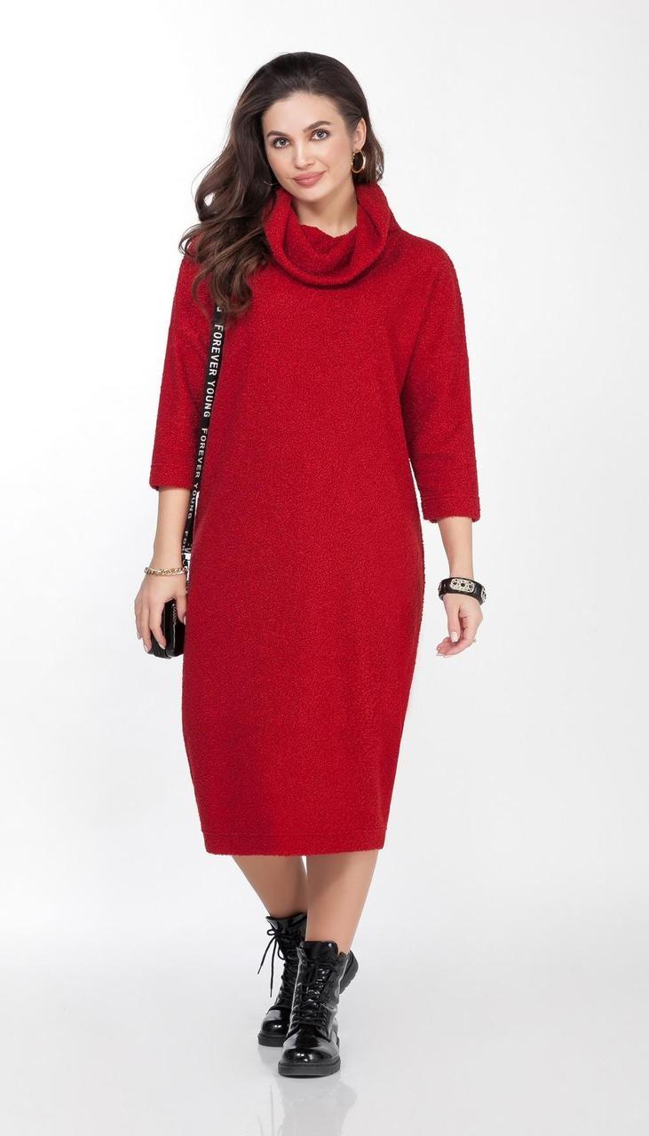 Платье TEZA-2028/1 белорусский трикотаж, красный, 48