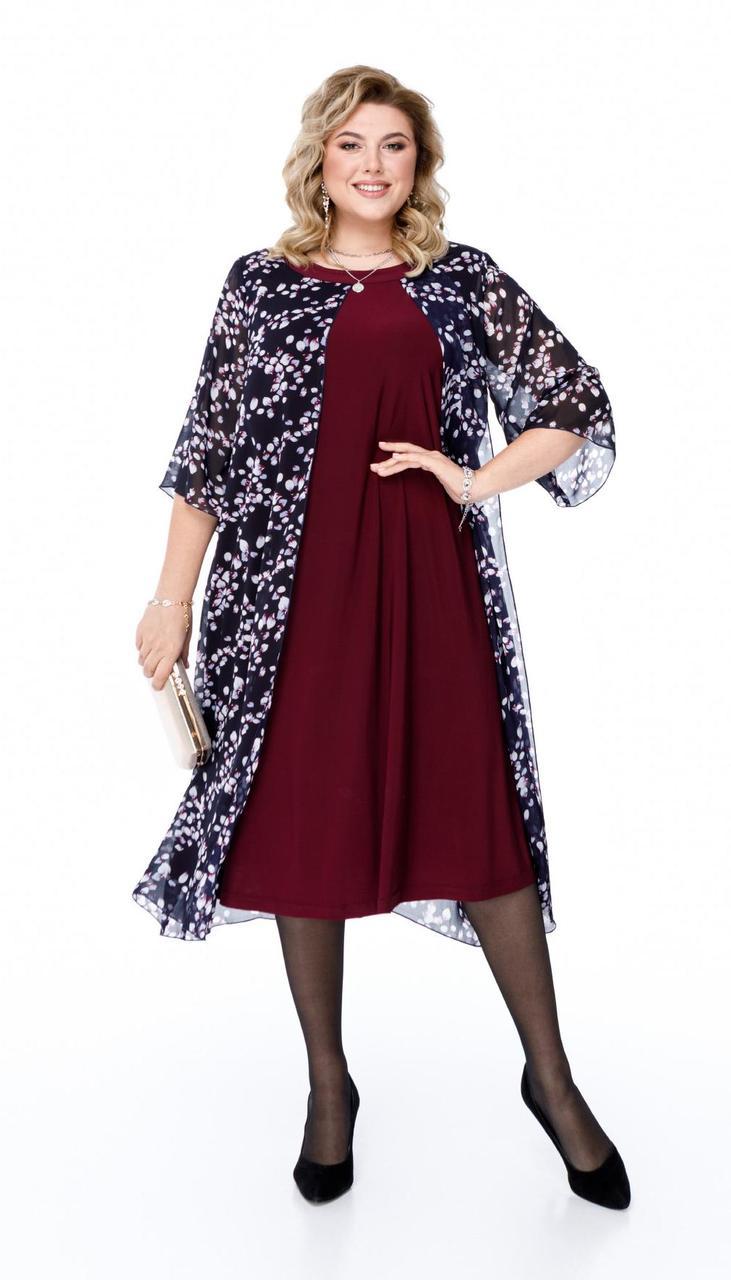 Платье Pretty-1189/1 белорусский трикотаж, сливовый + темно-синий , 56