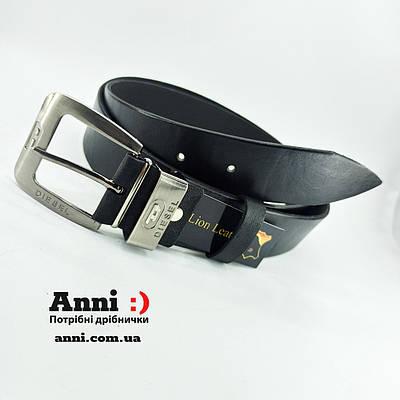 Мужской кожаный брючный ремень с классической пряжкой 123 см