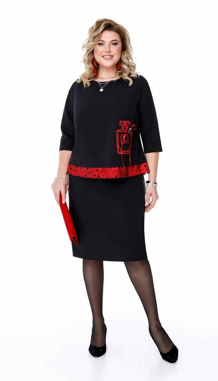 Платье Pretty-1200 белорусский трикотаж, черный + красный, 56