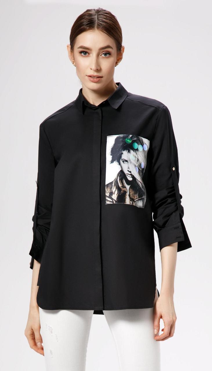 Блузка Panda-478746р белорусский трикотаж, черный, 44