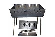 Мангал-чемодан на 10 шампуров 2 мм Огонёк