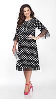 Платье TEZA-2031 белорусский трикотаж, горох черный, 44