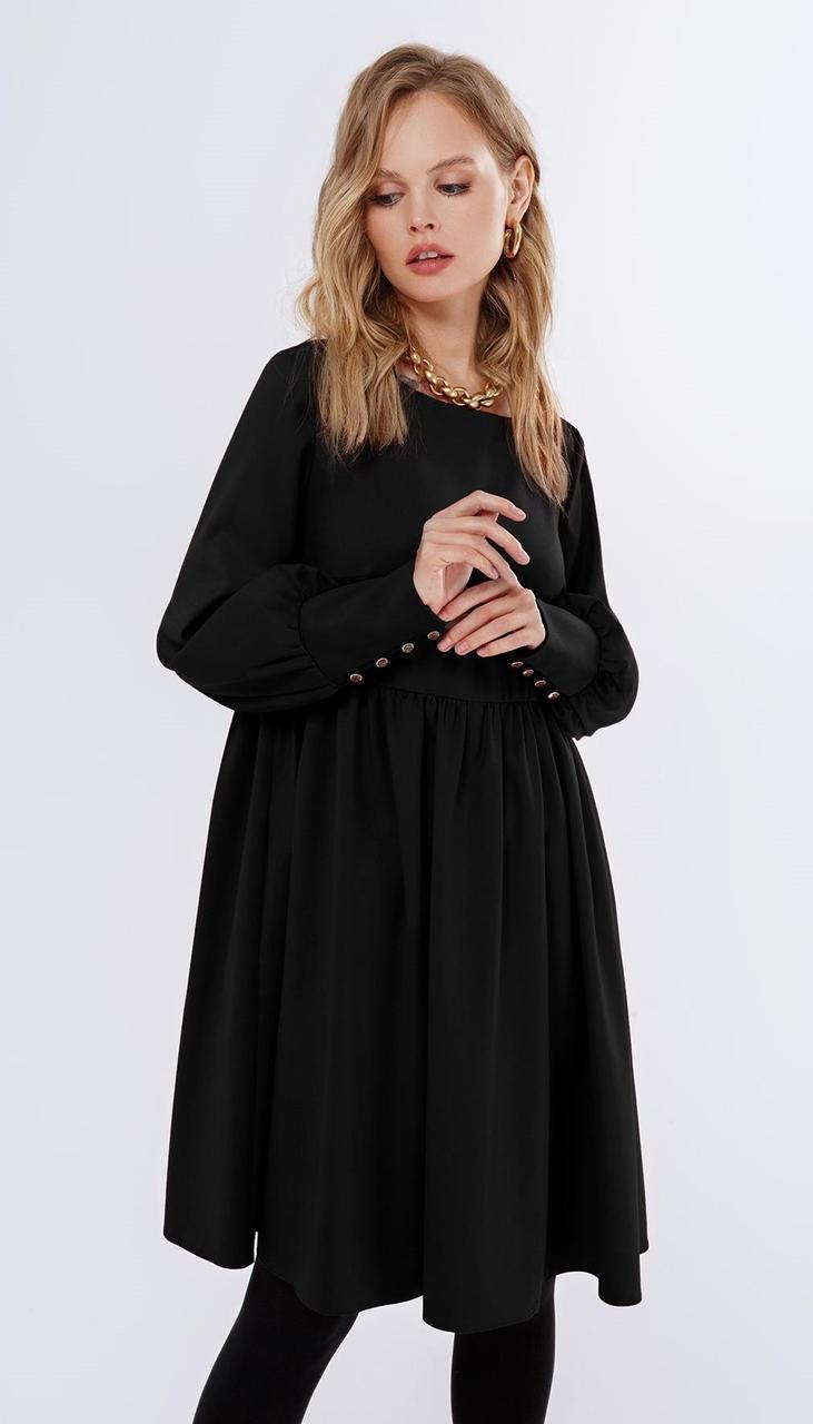 Платье PiRS-1686/2 белорусский трикотаж, черный, 40