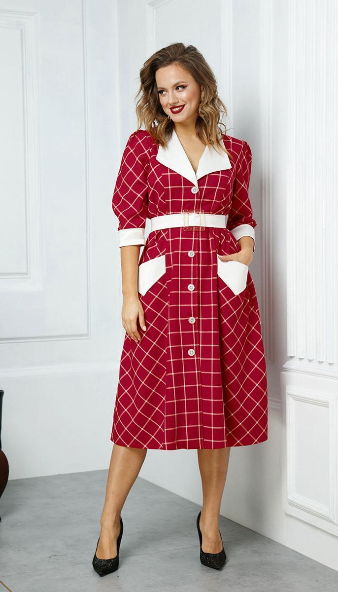 Сукня Anastasia-528 білоруський трикотаж, червоний+клітка, 48