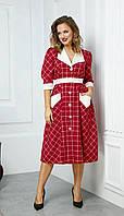 Сукня Anastasia-528 білоруський трикотаж, червоний+клітка, 48, фото 1