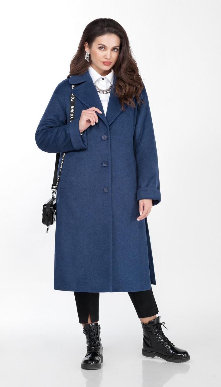 Пальто TEZA-2037 белорусский трикотаж, синий, 48