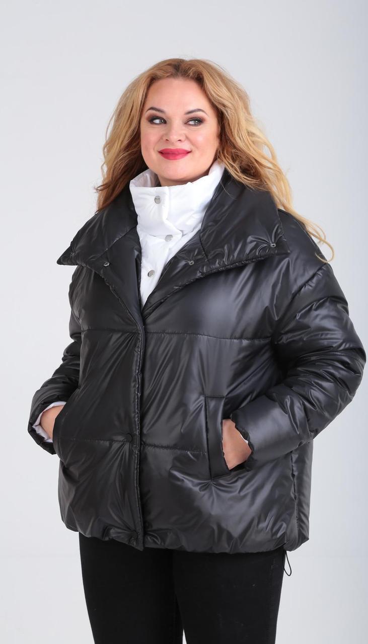 Куртка Диамант-1601/2 белорусский трикотаж, черный + белый, 42