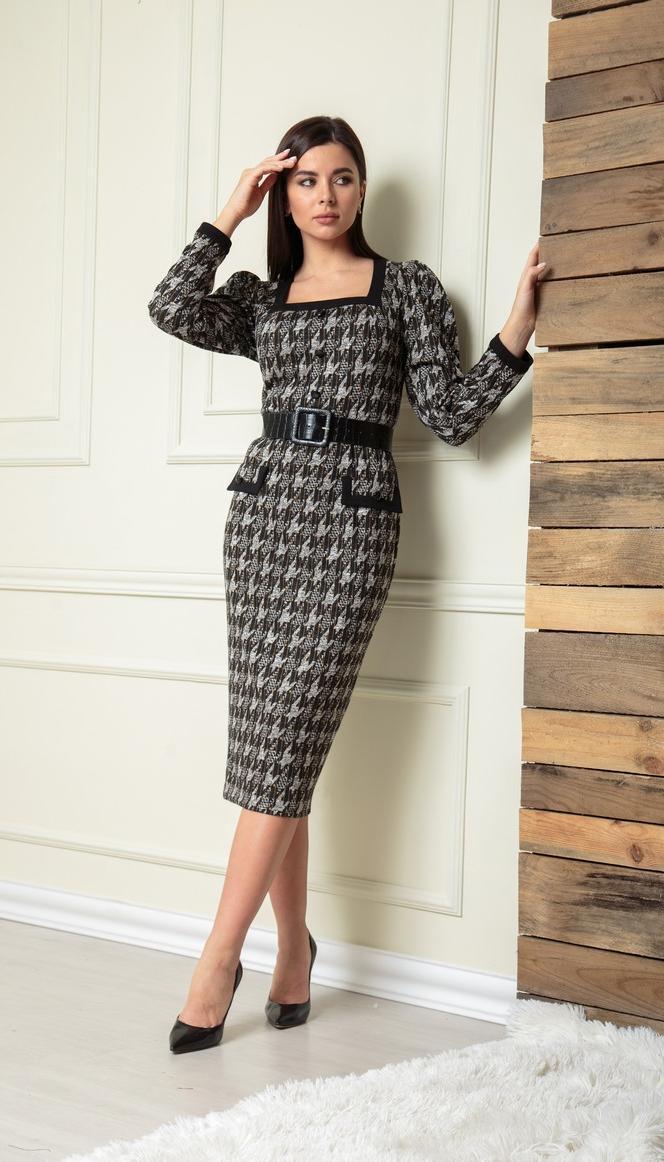 Платье Sandyna-13901 белорусский трикотаж, серо-черное, 44